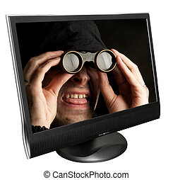 Funny man with binocular in a computer monitor