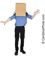 Funny man with box on head