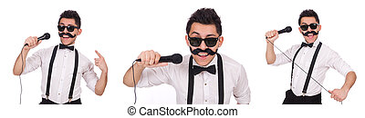 Funny man with mic isolated on white