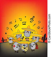 mariachi hedgehogs - funny mariachi hedgehogs illustration