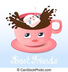 Funny marshmallow falls into a coffee. Best friends hand lettering. Greeting card for Friendship Day.