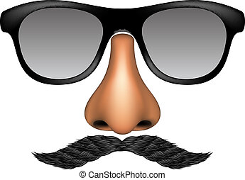 Funny mask made of glasses, mustache and nose on white...