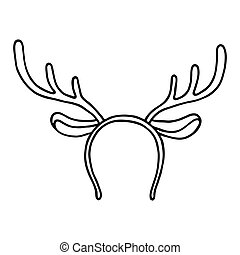 Funny mask with Christmas reindeer horns on white background