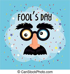 funny mask with glasses and mustache to fools day