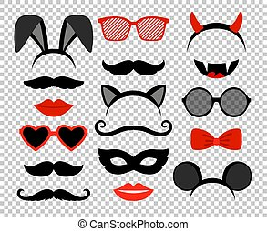 Funny masks. Masquerade mask set, glasses and mustache, rabbit and mouse ears, teeth, lips and horns