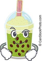 Funny matcha bubble tea mascot character showing confident gesture