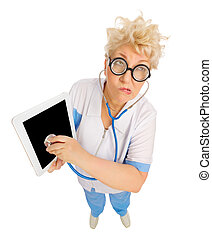 Funny mature doctor with tablet PC
