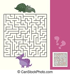 Funny maze for children. Help the dino to find friend. Kids learning games collection.