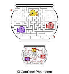 Funny maze. Game for kids. Puzzle for children. Cartoon...