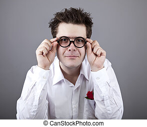Funny men in glasses.