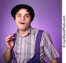 Funny men in violet.