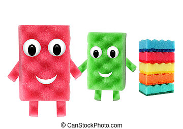 Funny men made ?of cleaning sponges on white background