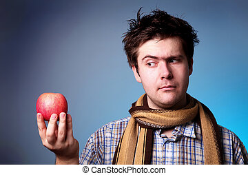 Funny men with apple.