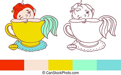 Funny mermaid in a cup of tea illustration.  Vector template for coloring. Activity for kids with examples.