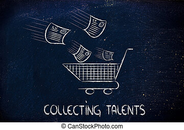 funny metaphor of CV selection for talent scouting, collecting the best talents