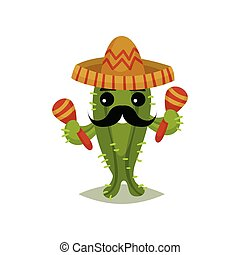 Funny Mexican cactus with black mustache. Succulent plant in sombrero hat and maracas in hands. Flat vector for greeting card.