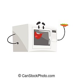 Funny microwave character with smiling face, humanized home electrical equipment vector Illustration