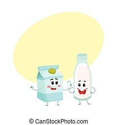 Funny milk characters, bottle and carton box, smiling human faces
