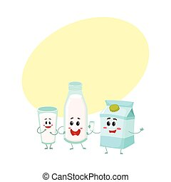 Funny milk characters - bottle, glass, carton box, smiling human faces
