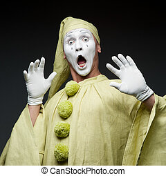 funny mime show surprised face