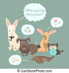 Funny Mixed Breed dogs with Speech Bubble. Vector illustration