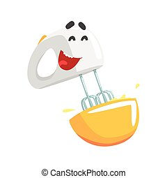 Funny mixer character with smiling face, humanized home electrical equipment vector Illustration