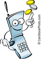 Funny mobile telephone - Funny vector mobile telephone, with...