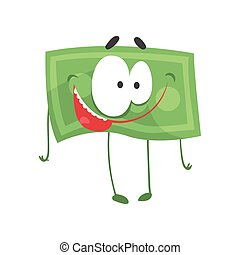 Funny money character with happy face. Cartoon banknote in flat style. Emotional green dollar. Vector illustration design for emblem, logo, card or poster