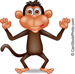 Funny monkey cartoon - Vector illustration of funny monkey...