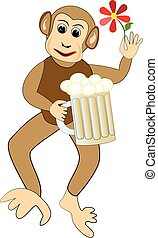 Funny monkey cartoon with a glass of beer and red flower.