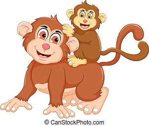 funny monkey cartoon with her baby - vector illustration of...