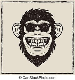 Funny monkey in sunglasses vector grunge t-shirt printing design