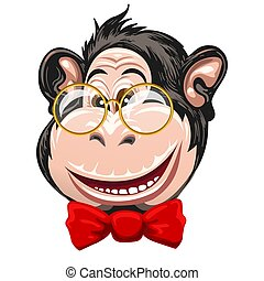 Funny Monkey with Glasses and Bow Tie