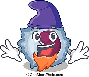 Funny monocyte cell cartoon mascot performed as an Elf. ...