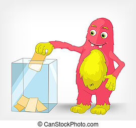 Cartoon Character Funny Monster Isolated on Grey Gradient Background. Election. Vector EPS 10.