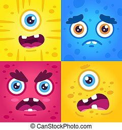 Funny monster expressions. Halloween cute creatures muzzle, scary monster face, alien creature mascots make faces vector illustration set