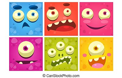 Funny Monster Faces Set, Colorful Square Emojis, Cute Emoticons with Different Emotions Vector Illustration