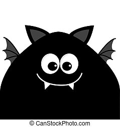 Funny monster head silhouette with big eyes, fang tooth and wings. Cute cartoon character. Black color. Baby collection. Isolated. Happy Halloween card. Flat design.