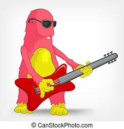 Funny Monster. Rock Star. - Cartoon Character Funny Monster...
