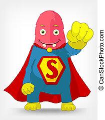 Funny Monster. Super hero. - Cartoon Character Funny Monster...