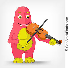 Funny Monster. Violinist. - Cartoon Character Funny Monster...