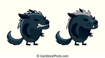 Funny monster-werewolf on a white background. Vector 2D ...