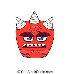 funny monster with horns comic character