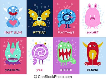 Funny Monsters Cards Set