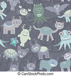 Funny monsters seamless pattern on dark background. Vector
