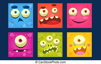 Funny Monsters Set, Colorful Mutant Emojis, Cute Emoticons Funny Faces Vector Illustration