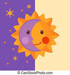 Funny Moon and Sun icon in flat style.