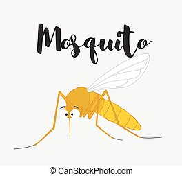 Funny Mosquito Insect Vector Illustration