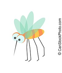 Funny mosquito with huge eyes and sharp proboscis
