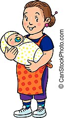 Funny mother or nanny with baby. Coloring book.